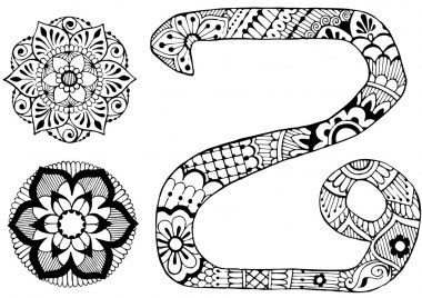 letter Z decorated in the style of mehndi