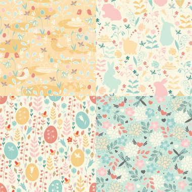 Seamless Easter set of patterns