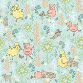 zvířata v louce bezešvé pattern