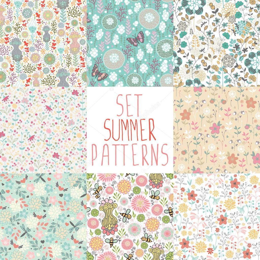 set of seamless floral backgrounds