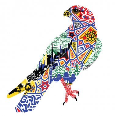 Bird patterns and miniatures symbolizing UAE