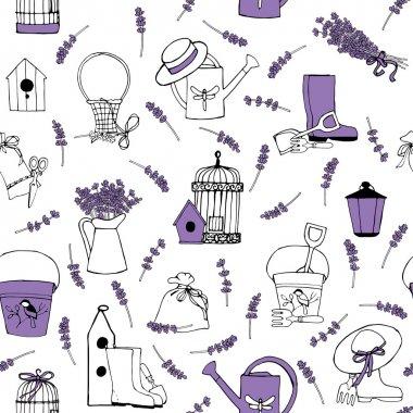 Seamless pattern lavender garden