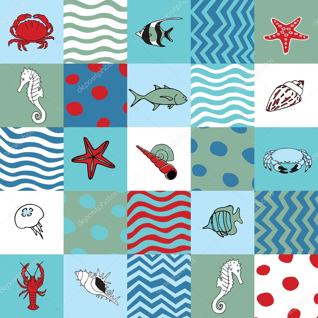 Seamless pattern with marine life