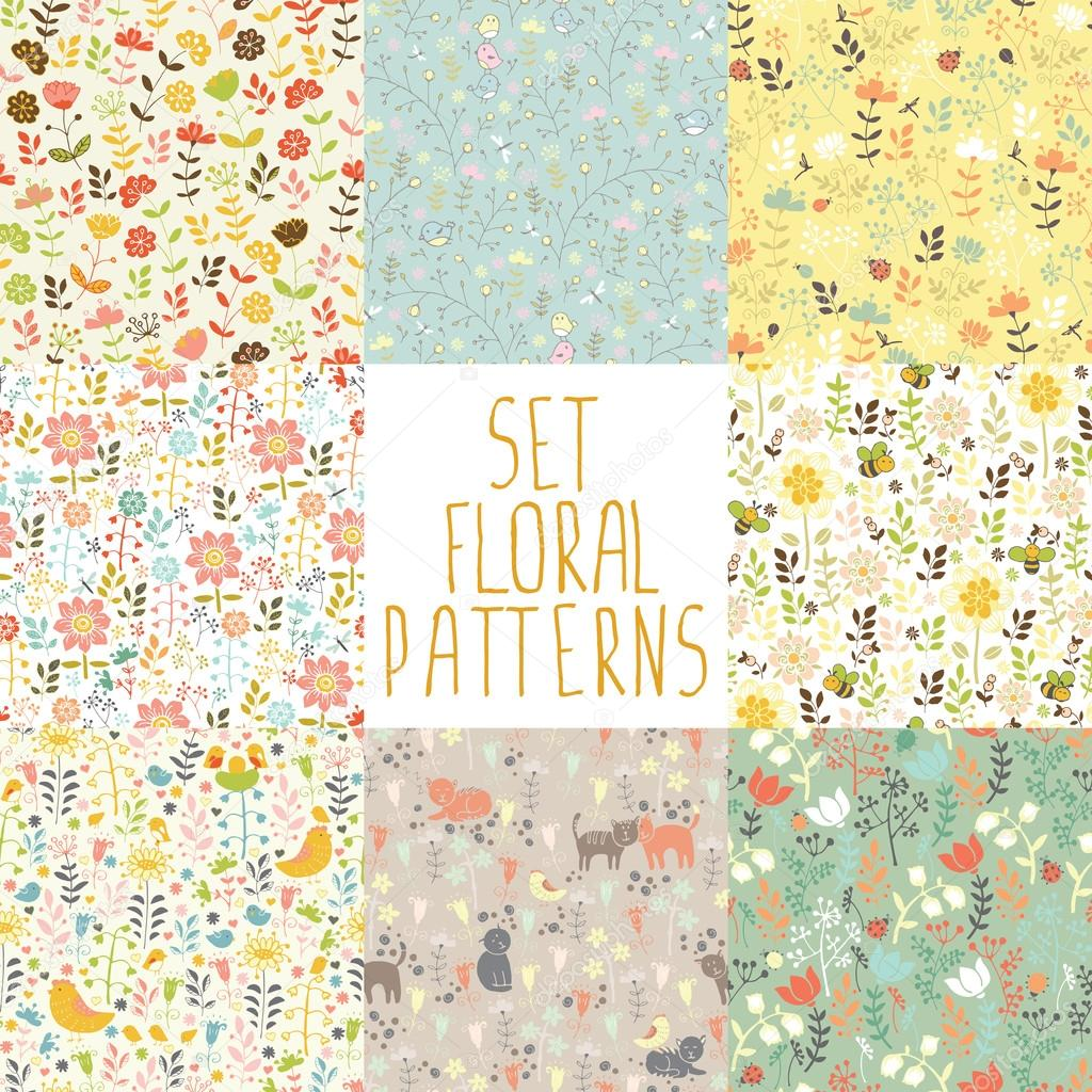 set of seamless floral patterns