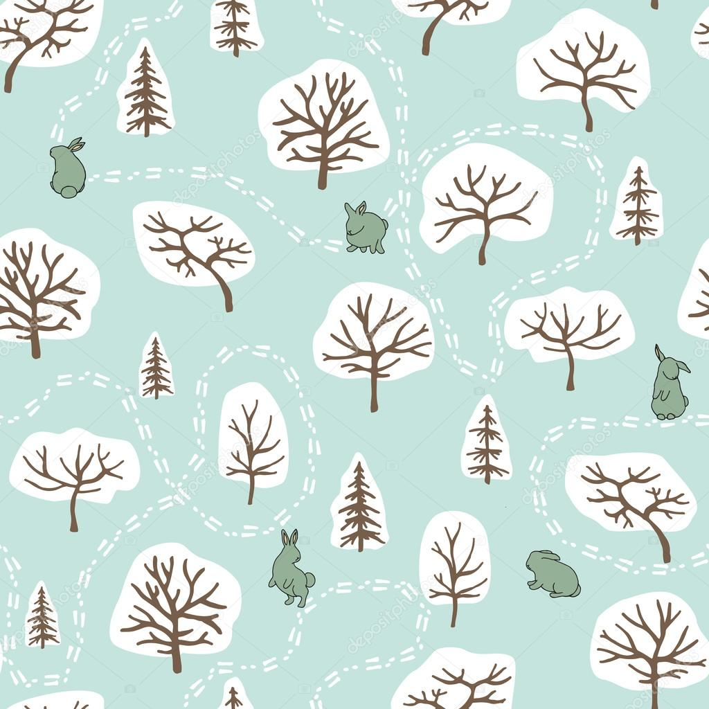 Forest seamless pattern with hares