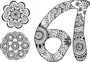 letter A decorated in the style of mehndi