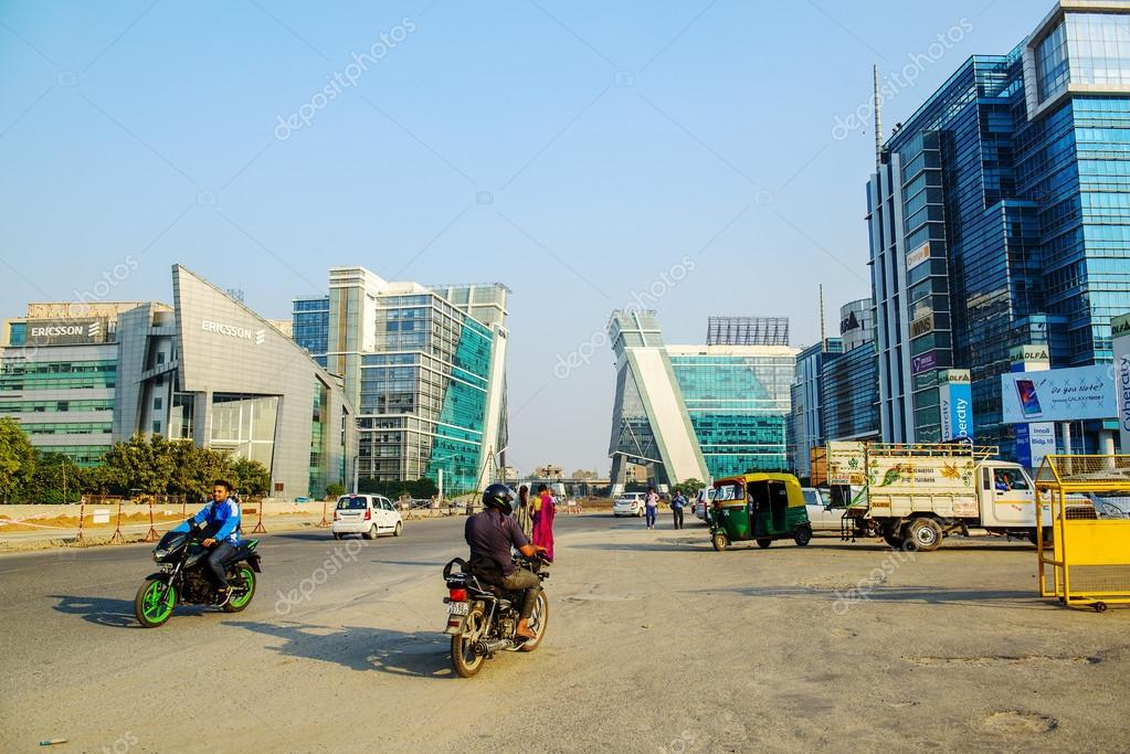 Modern Architecture Of New Delhi modern india, office buildings in gurgaon near new delhi – stock