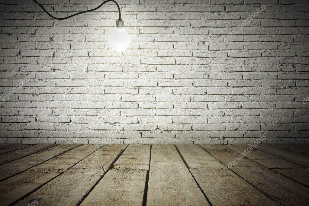 Industrieel Interieur Met Houten Vloer En Witte Bakstenen Muur En