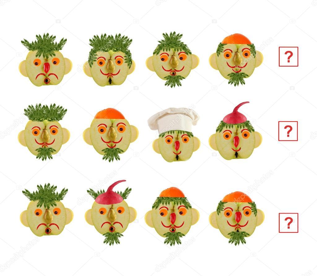 Tvare Kreslene Zeleniny A Ovoce Jako Ilustrace Ma Stock
