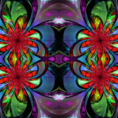 Pattern from fractal Flowers. Blue, green and pink palette. Frac