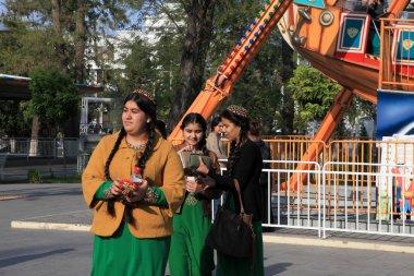 Ashgabad, Turkmenistan - October 10, 2014. Unidentified schoolgi