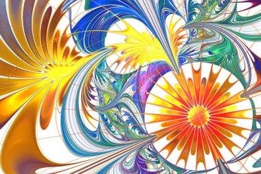 Flower background in fractal design. Orange and blue palette. On