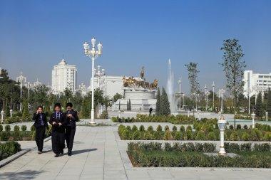 Ashgabad, Turkmenistan - October 10, 2014. Group of  law student