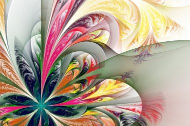 Diagonal asymmetrical multicolor fractal tracery. Collection - f