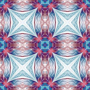 Symmetrical flower pattern in stained-glass window style on ligh