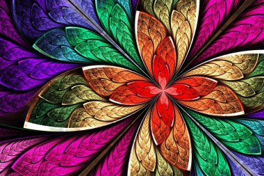 Beautiful multicolored fractal flower in stained glass window style. Computer generated graphics. stock vector