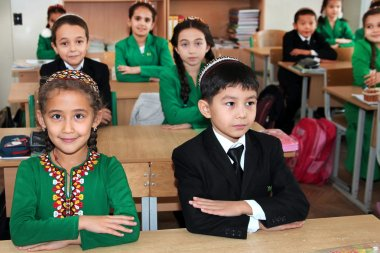 Ashgabad, Turkmenistan - November 4, 2014. Group of students in
