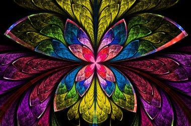 Multicolored symmetrical fractal pattern as flower or butterfly