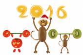 Affe-Weihnachtsmann hält im Jahr 2016