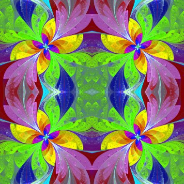 Multicolored beautiful symmetrical pattern in stained-glass wind