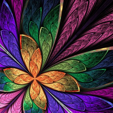 Beautiful multicolored fractal flower or butterfly in stained gl