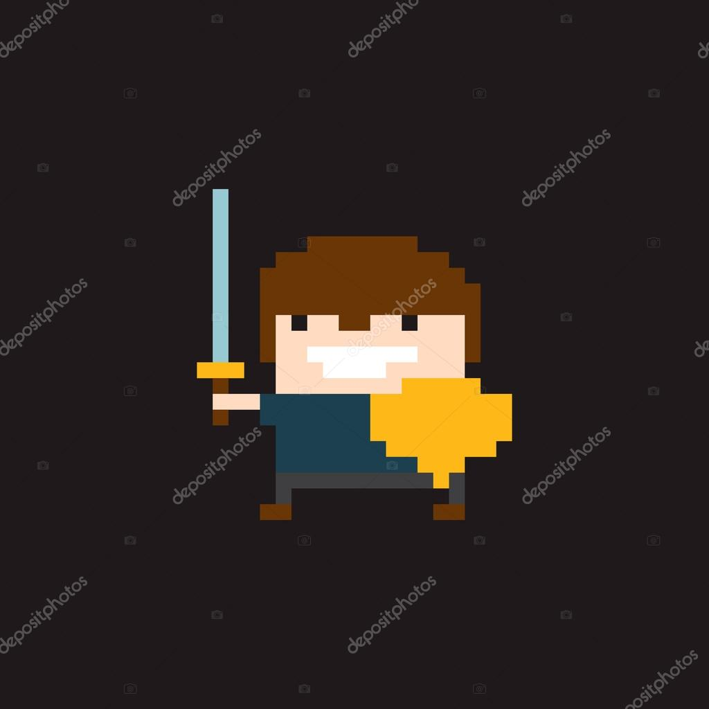 Pixel Warrior With Sword Stock Vector Chuckchee 67148917