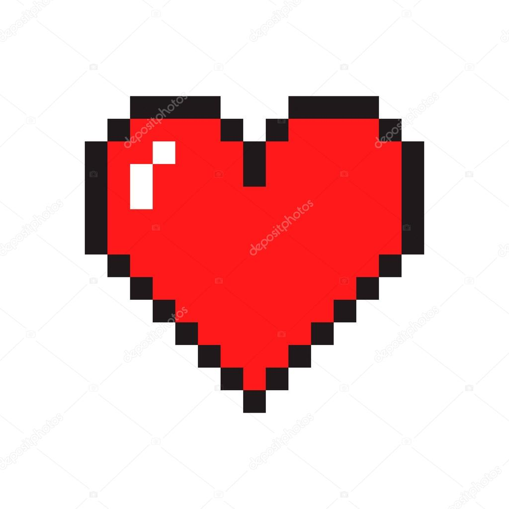 Pixel art heart isolated on white background. vector illustration clipart vector