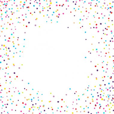 Vector background with confetti tiny round pieces on the sides stock vector