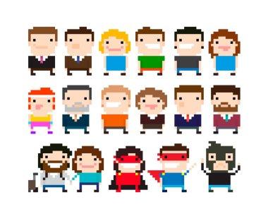 pixel art 8-bit people characters