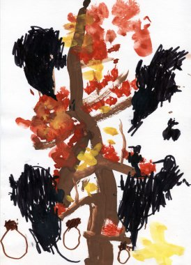 Autumn tree watercolor