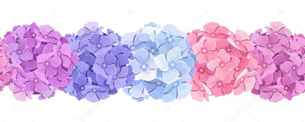 Horizontal seamless background with pink blue and purple hydrangea horizontal seamless background with pink blue and purple hydrangea flowers vector illustration mightylinksfo