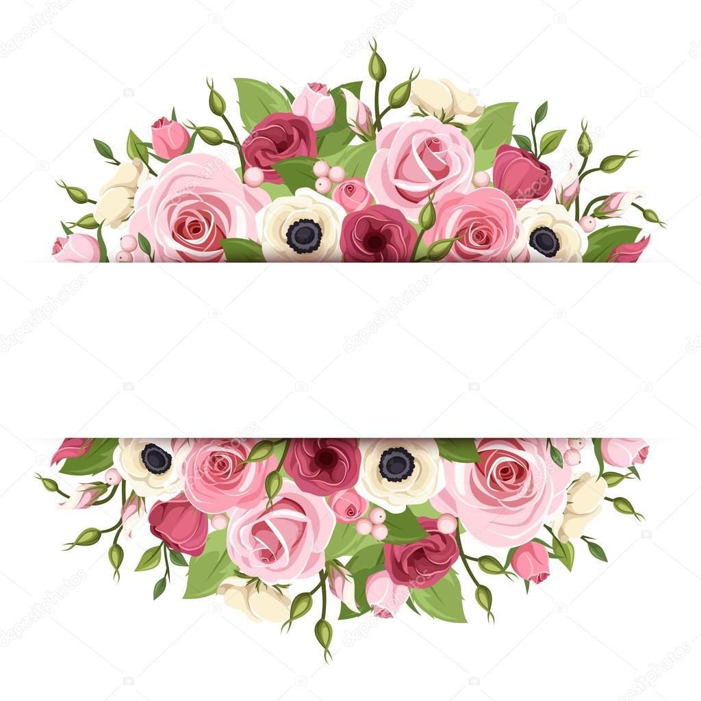 Background With Pink Red And White Flowers Vector Eps 10 Stock