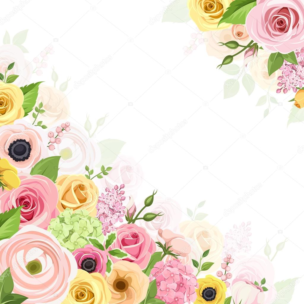 Background With Pink Orange And Yellow Flowers Vector Illustration