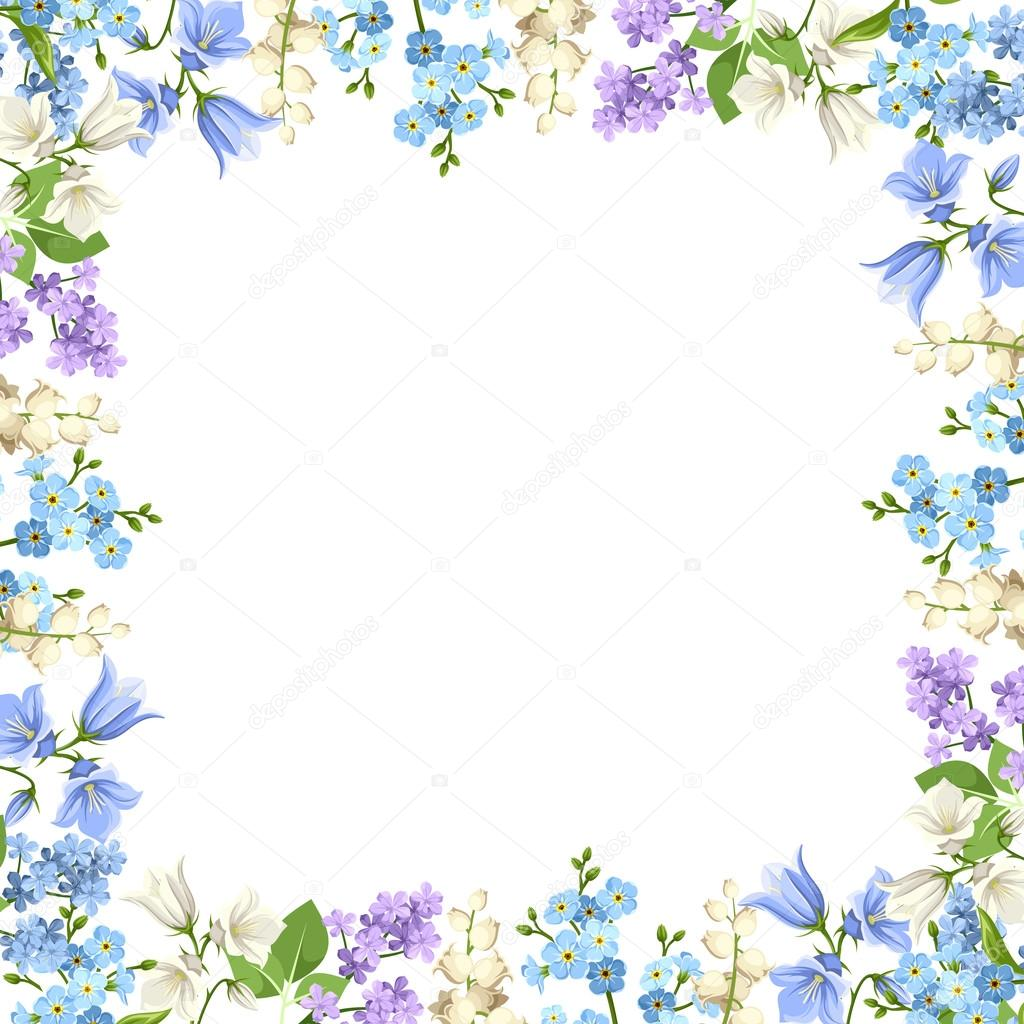 Vector Marco De Flores Azules Marco Con Flores Azules Purpura Y