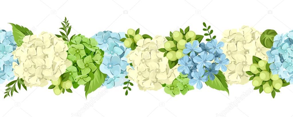 Flores Vectoriales Con Fondo Transparente: Horizontal Fondo Transparente Con Flores Azules Y Blancas