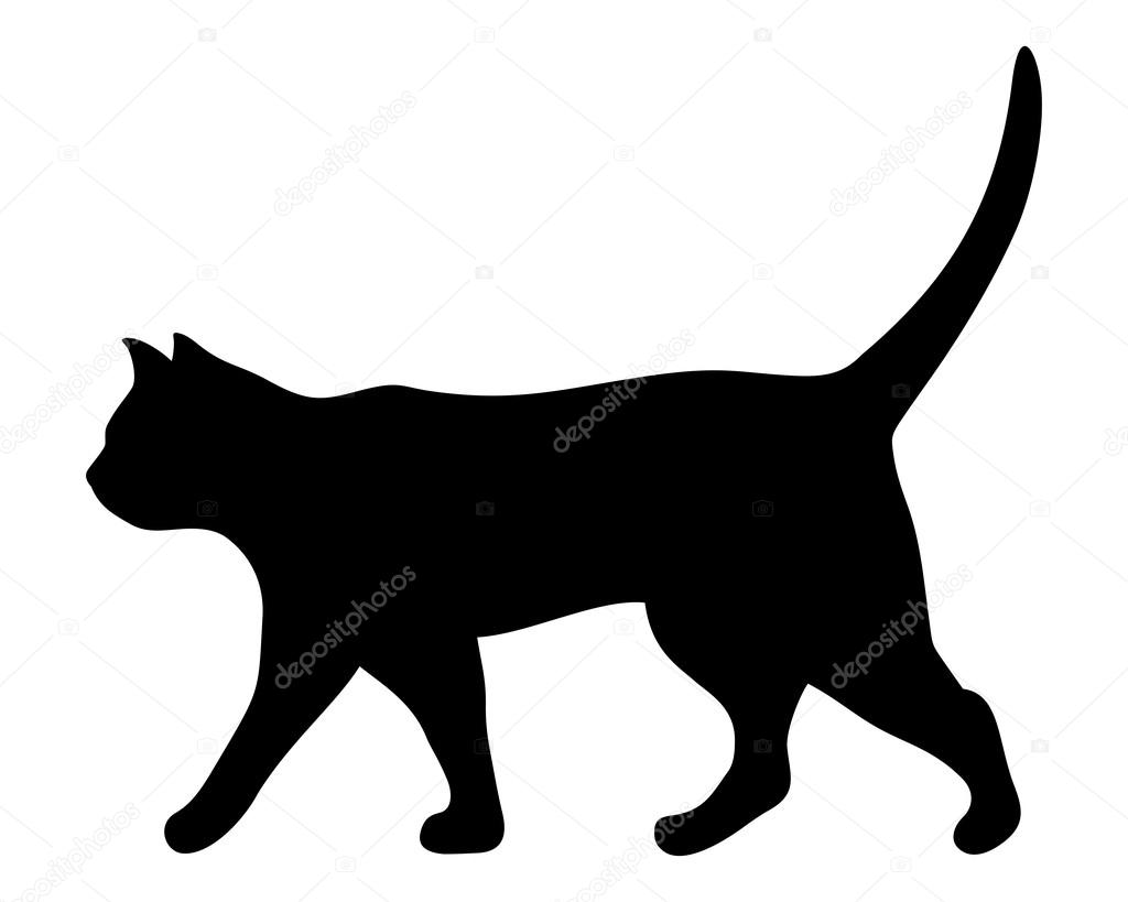 Yürüyen Kedi. Vektör Siyah Siluet