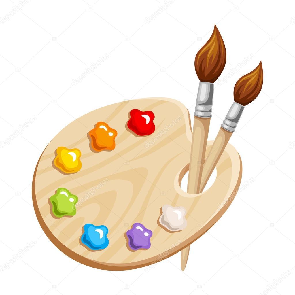 Kunst-Palette mit Farben und Pinsel. Vektor-illustration ...