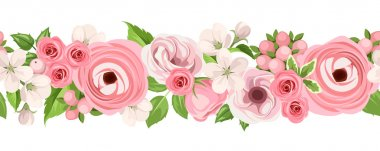 Horizontal seamless background with pink flowers. Vector illustration.