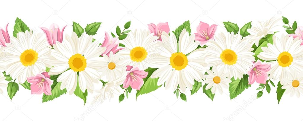 Flores Vectoriales Con Fondo Transparente: Fondo Transparente Horizontal Con Margaritas Y Flores De
