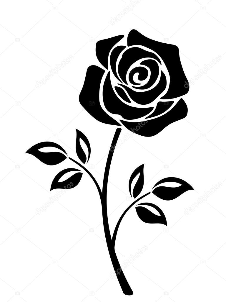 G l i ek siyah sil eti vekt r izimler stok vekt r naddya 117516096 - Dessin de fleur en noir et blanc ...