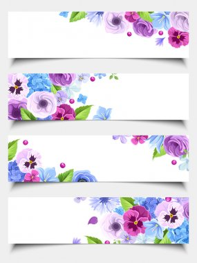 Set of web banners with blue and purple flowers. Vector illustration.