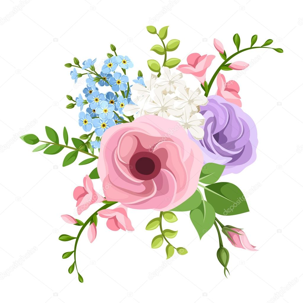Lisianthus freesia and forget me not flowers bouquet vector lisianthus freesia and forget me not flowers bouquet vector illustration izmirmasajfo Gallery