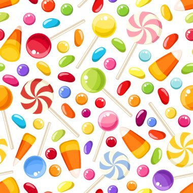 Vector seamless background with colorful Halloween candies on a white background. stock vector