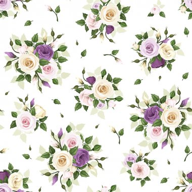 Seamless pattern with roses and lisianthus flowers. Vector illustration.