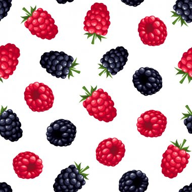 Seamless background with raspberry and blackberry. Vector illustration.