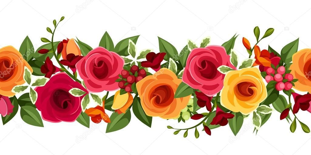 Flores Vectoriales Con Fondo Transparente: Fondo Transparente Horizontal Con Rosas Rojas Y Amarillas