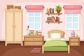 Interiér ložnice. Vektorová ilustrace.