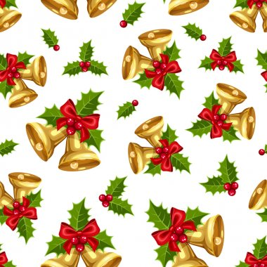 Seamless background with golden Christmas bells. Vector illustration.