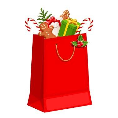 Christmas gift bag. Vector illustration.