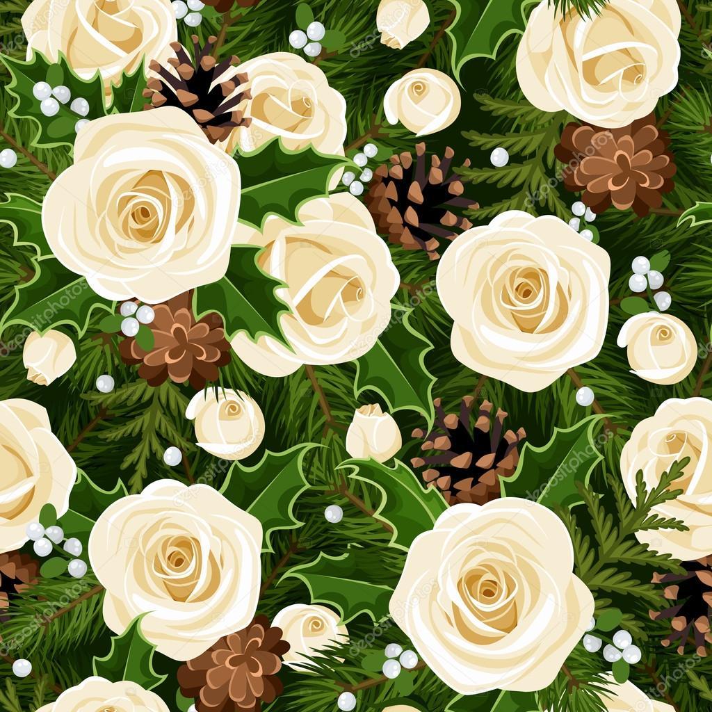 Weihnachten nahtlose Hintergrund mit Rosen, Tannen-Zweige und Holly ...
